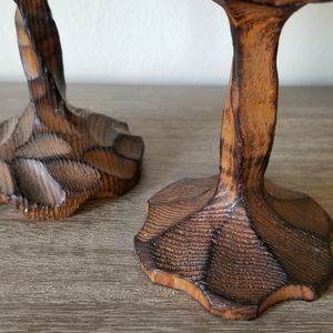 Vintage Accents - VTG Carved + Torched Wood Goblet Candle Holders